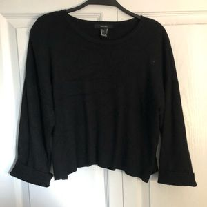 Black Cropped 3/4 Sleeve Ribbed Sweater